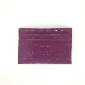 Coach Shiny Fuschia 4 Card Slot Carrier Wallet